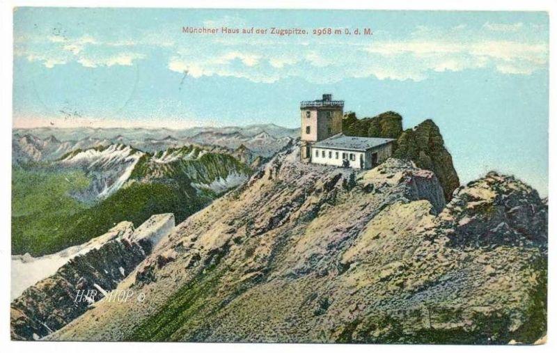 Münchner Haus auf der Zugspitze. 2968 m ü. d. M., Gelaufen 28.08.1908