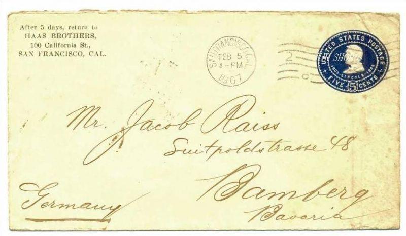 USA Cover 1907 San Francisco - Bamberg