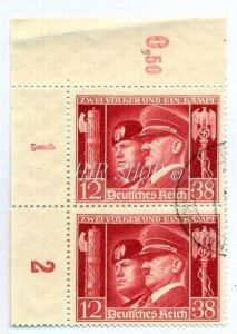 1941, 30. Jan. Deutsch - italienische Waffenbrüderschaft,763 12+38 Pf, Gest.