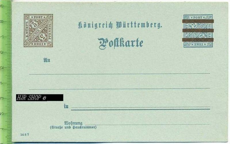 Postkarte, K. Württ. Amtlicher Verkehr  Ungel. Postfrisch, Drei, Pfennig
