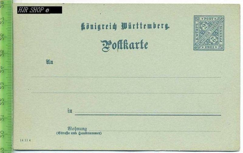 Postkarte, K. Württ. Amtlicher Verkehr  Ungel. Postfrisch, Zwei, Pfennig