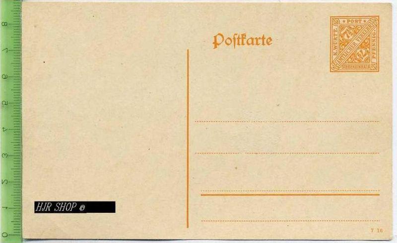 Postkarte, K. Württ. Amtlicher Verkehr  Ungel. Postfrisch, Siebeneinhalb, Pfennig