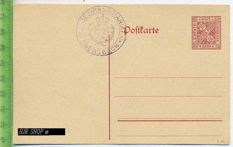 Postkarte, K. Württ. Amtlicher Verkehr  Ungel. Postfrisch, Zehn, Pfennig