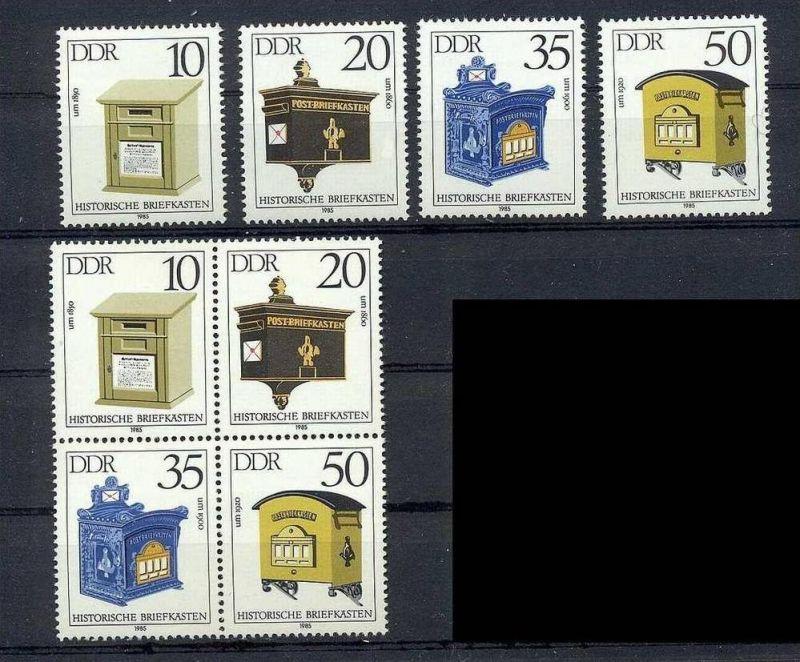 1985, 5. Febr. Historische Briefkästen, 1 x Satz 2924-27**, 1x Viererblock**