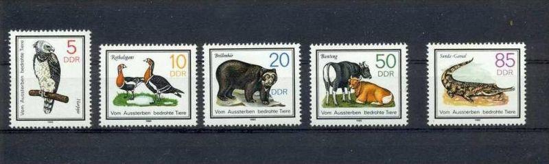 1985, 25. Juni. Vom Aussterben bedrohte Tiere, 2952-56** 1985, 8. Okt. Brücken Berlin, 2972-75**