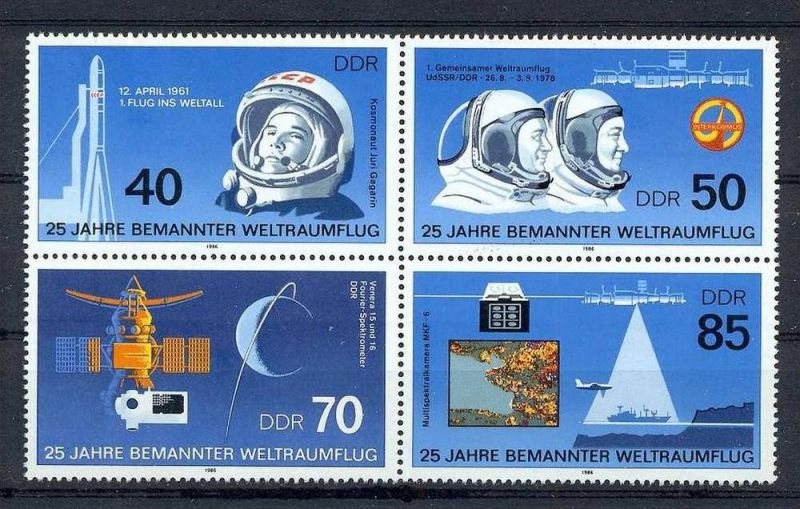 1986, 25. März. 25 Jahre bemannter Weltraumflug, 3005-08, Viererblock**