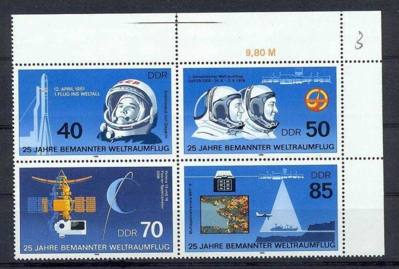 1986, 25. März. 25 Jahre bemannter Weltraumflug, 3005-08, Viererblock**, mit Seiten u. Oberstr.