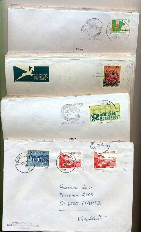 50 x Briefumschläge Frankiert und Gestempelt  um 1980