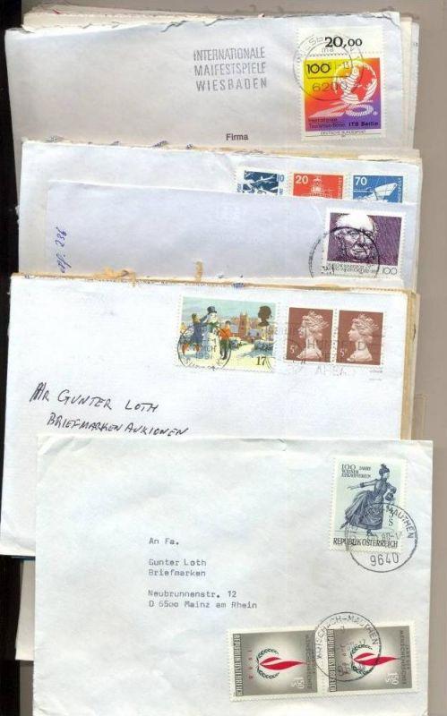 50 x Briefumschläge Frankiert und Gestempelt  um 1980 - 94