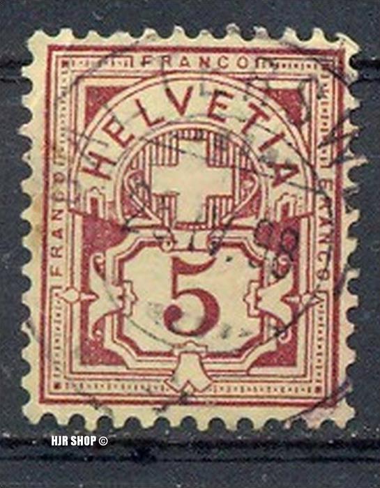1882, 1. April. Freimarken: Eidgen. Kreuz über Wertschild (I) MiNr.46, 5C gest. Zustand: Gut