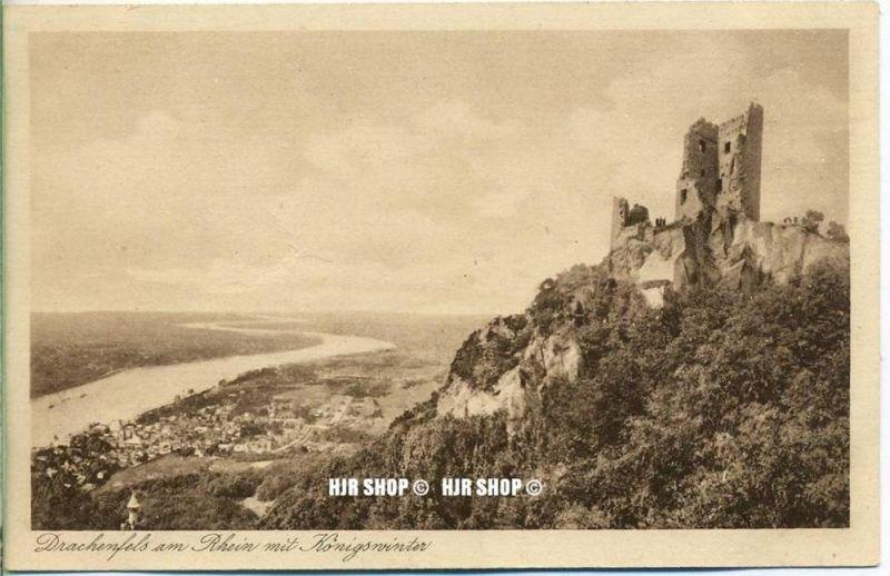 """um 1920/1930 Ansichtskarte  """"Königswinter-Drachenfels,""""  ungebrauchte Karte"""