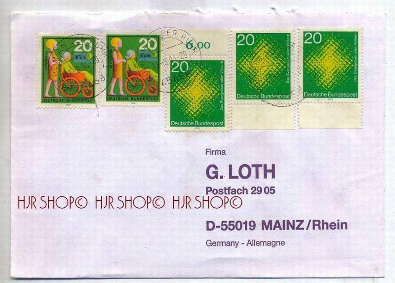 1994, Deutschland Brief mit MiNr. 647 mit Unterr. Gest. MeF, 647 mit oberr. MiF, 631 MiF . Zustand: I-II