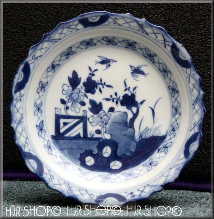 CHINA-Kleiner Porzellanteller, Kangxi-Periode 18. Jhd. Marke: Ohne, geschweifter Rand Teller, Blau-Weiß Unterglasur, im