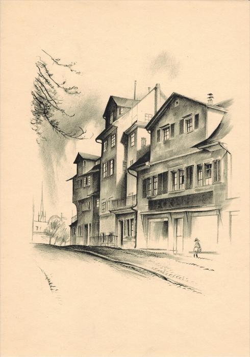 Häusergruppe am oberen Hirschgraben Original-Lithographie von Otto Baumberger Vor dem ehemaligen lindentor Blattgröße 30