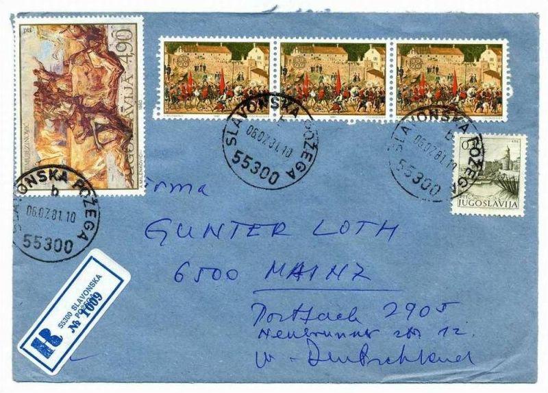 R- Brief, 06.07.1981, Slavonska Pozega – Mainz,