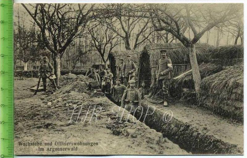 Feldpost nach Tangerhütte, Wachstube und Offizierswohnungen im Argonnerwald