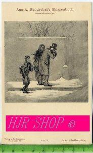 Aus A. Hendschel`s Skizzenbuch, Schneeballwerfen, Ungel.