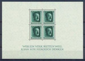 1937,  5. April. Blockausgabe: 48. Geburtstag Adolf Hitler, Block 7**, M€ 70,--