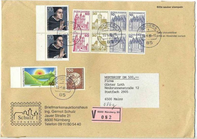 Wert-Brief, 30.06.1980, NÜRNBERG – MAINZ,