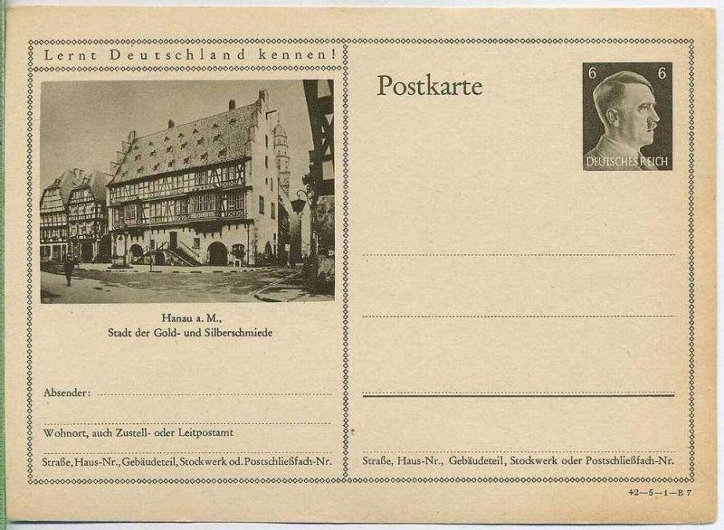 Postkarte,  ungelaufen 1942/HANAU
