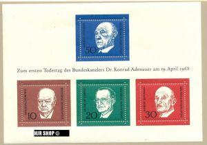 1968, 19. April. Block 4**, Adenauer,  Zustand: sehr gut