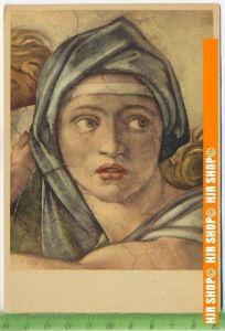 """""""Michelangelo, Kopf der Sibylle Delphica"""", um 1950/1960  Ansichtskarte  ungebrauchte Karte"""