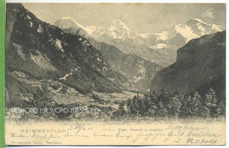 Heimwehfluh um 1900/1910 Verlag:Pho., Gabler, Interlaken---, POSTKARTE mit Frankatur, mit Stempel, Abgang, 29.6.01 Inter