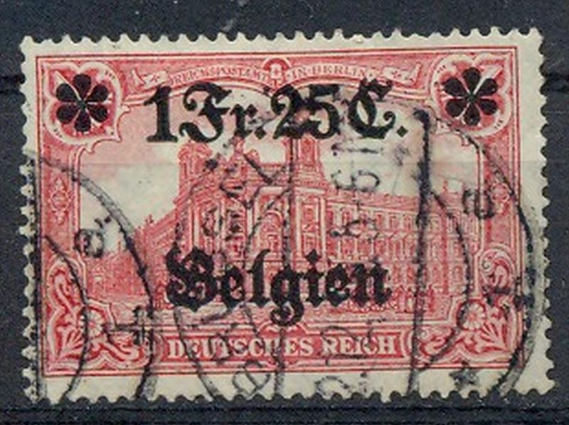 1914 Belgien, Freimarken mit  Bedr. Aufdruck.,  MiNr. 8 Gest,    Zustand: I-II