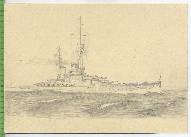 Deutsches Kriegsschiff, gemalt   Erhaltung: I-II Karte wird in Klarsichthülle verschickt. (H)