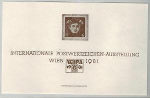 Internationale Postwertzeichen-Ausstellung, Wien 1981 Beleg Zustand: I-II
