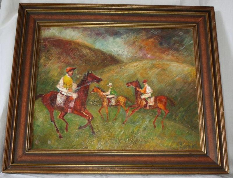 Borkel ?, um 1970Drei Reiter, Öl/HartfaserGerahmt,63 x 53,5 cm, Bild: 49 x 39 cmetwas CraquelureZustand: Gut