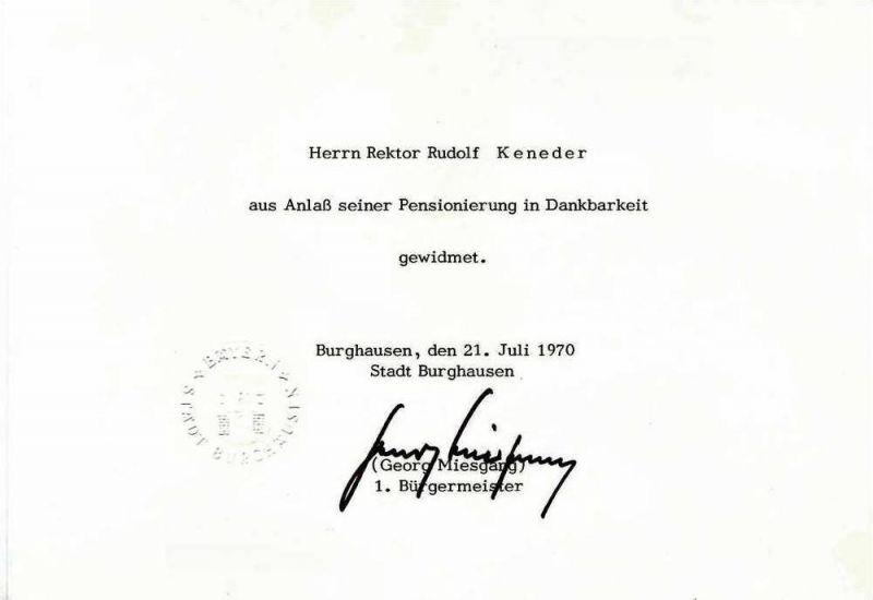 Original Unterschrift Georg Miesgang, 1. Bürgermeister Stadt Burghausen, 21. Juli 1970