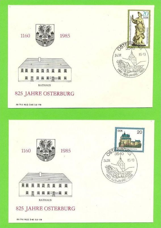 2 x FDC Osterburg 850 Jahrfeier, 24.08.1985