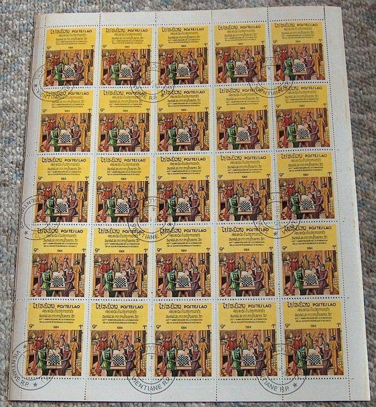 Bogensammlung Laos, 1984 Schachverband, Mi.Nr.728 gest. 25 Marken 1K