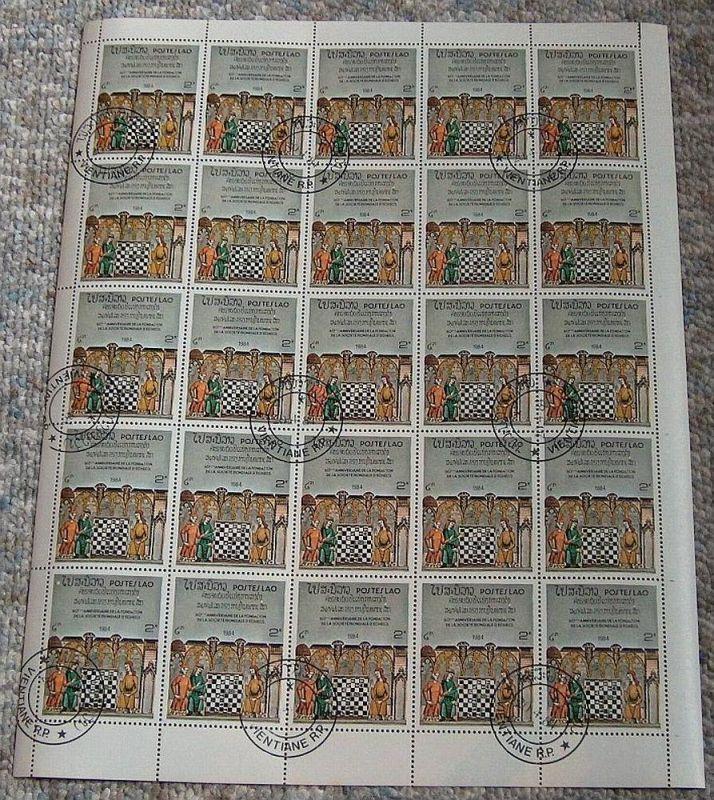 Bogensammlung Laos, 1984 Schachverband, Mi.Nr.730 gest. 25 Marken 2K