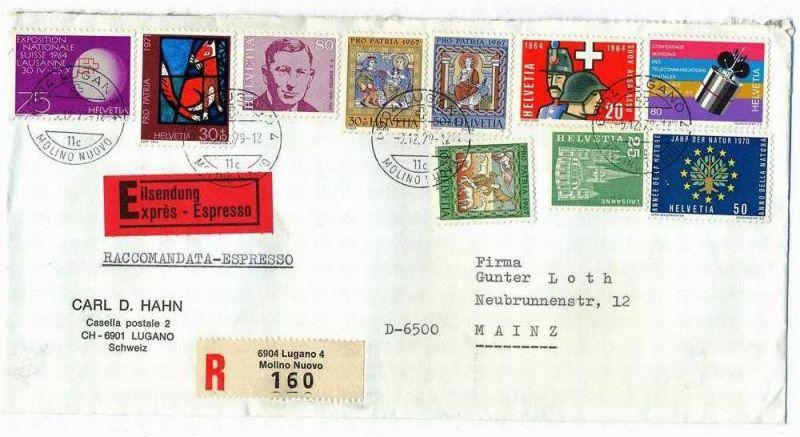 3.12.1979  Brief, Lugano – Mainz, sauber gest.,