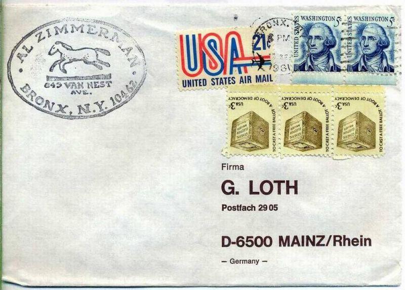 Luftpost-Brief, 13.09.1981, BRONX; NY – Mainz,