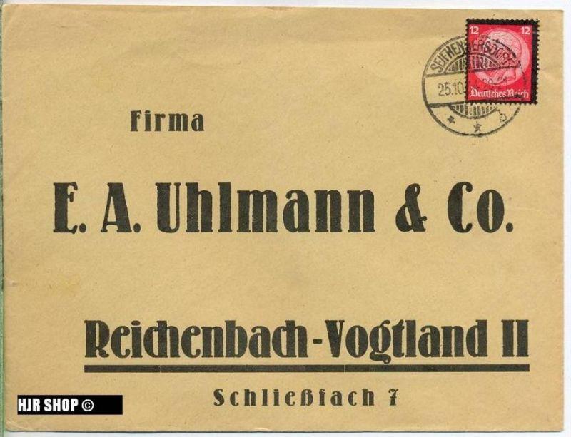Briefumschlag 1934 , Firma F.A. Uhlmann & Co., mit Bedarfsenwertung, Zustand: Gut