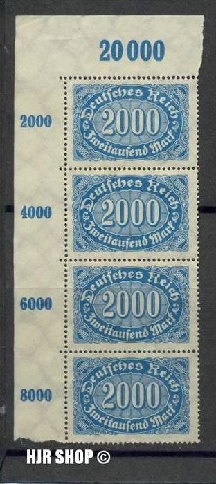 1922,Okt./1923, Sept. (Queroffset) II. MiNr.253** senkr. 4er Reihe mit Seitenrand, Zust. Gut