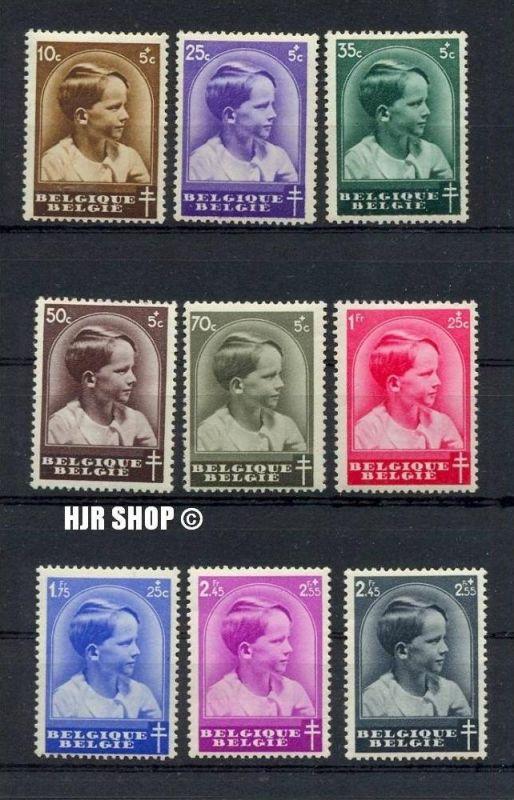 Tuberkulose 1936 Belgien 9 Werte **. Mich.Nr. 434/41 und 442.