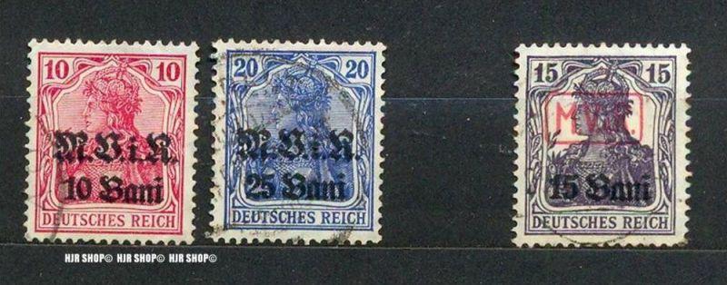 1917, Deutsche Militärverwaltung in Rumänien, Aufdruck schwarz , MiNr 4+6 gest., roter Aufdruck, MiNr.1 gest.