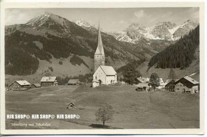 """""""Mittelberg mit Schafalpe"""" um 1930/1940  ANSICHTSKARTE,  mit Frankatur, mit Stempel,"""