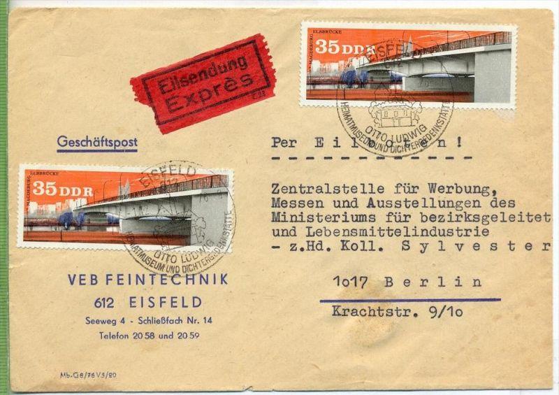 1976 Geschäftspost, Eilsendung, MeF MiNr. 2167 Gest,  Rückseite 2 x Bahnst. Etwas gebraucht Spuren   Zustand: I-II
