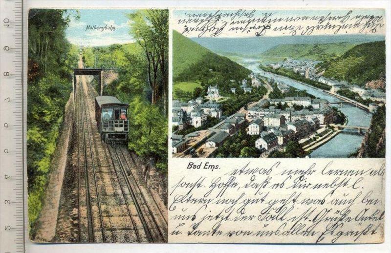 BAD EMS - Malbergbahn, um 1906 Verlag: Ottmar Ziemer, Postkarte mit Frankatur, mit 2 Stempeln, vonEms 18.05.06 nach Gera