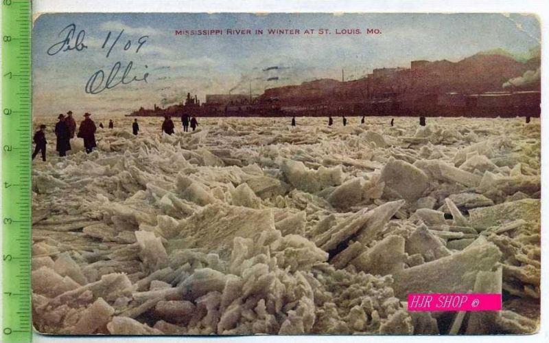 Mississippi River in Winter At St. Louis. Mo. Gel.  8.02.1909