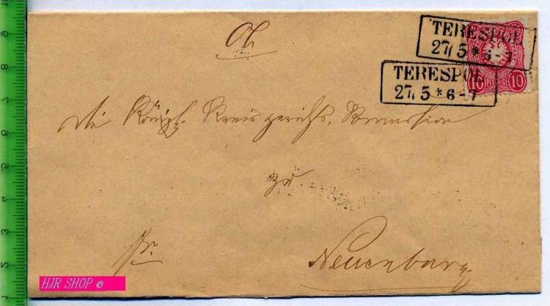 Kaiserreich, Ganzsache, Faltbrief ohne Inhalt 10Pfe. 1875 in a. Farbe, gestempelt Terespol vor 1900