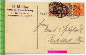 Kaiserreich, Ganzsache, Postkarte MiF 141+142 x 2, gestempelt Dessau 25.06.1921