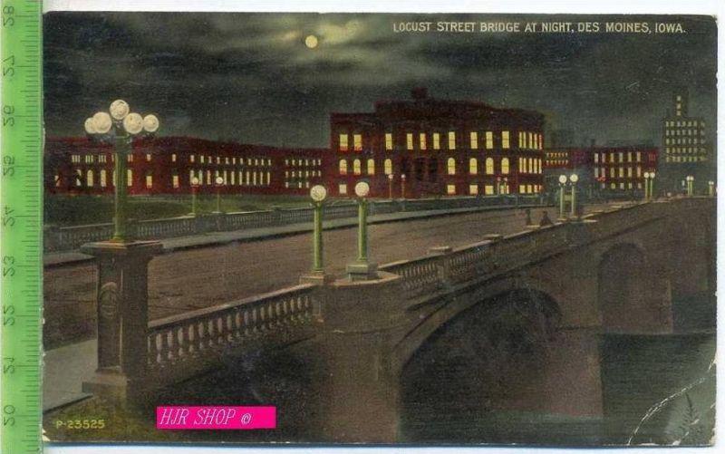 Locust Street Bridge At Night, des Moines, Iowa Gel. 4.06.1913 / Desmoines, Iowa
