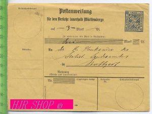 Postanweisung für den Verkehr innerhalb Württembergs