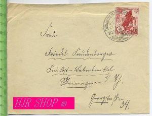 Ganzsache, Winterhilfswerk 12+6 Pf rotbraun gel.21.02.1939/Königstein